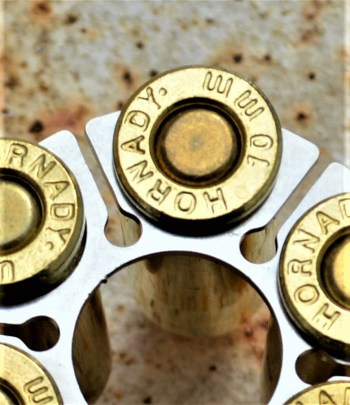 Ruger GP100 moon clip with cartridges inserted