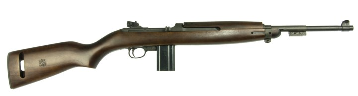 M1 Carbine rifle right profile with wood stock