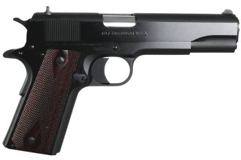 Colt 1991 series 1911 pistol black with wood grips right profile