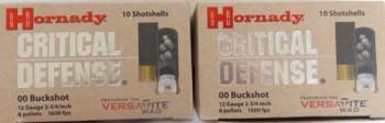 Hornady Critical Defense buckshot boxes