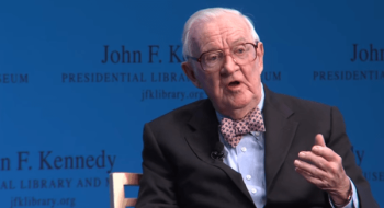Retired Supreme Court Justice John Paul Stevens speaking at the John F. Kennedy Presidential library