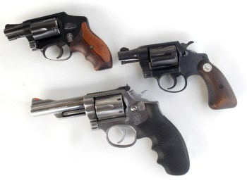 Three .38 revolvers left profile