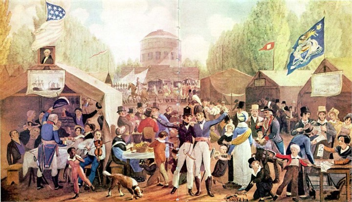 Artist depiction of the first Fourth of July Celebration