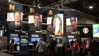 The NRA booth at the 2019 SHOT Show which is always target of Michael Bloomberg's Everytown