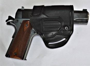 Blackhawk belt slide holster with 1911 handgun