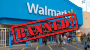 Walmart storefront with a banned sign superimposed