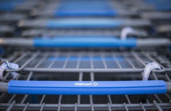 Row of Walmart shopping carts