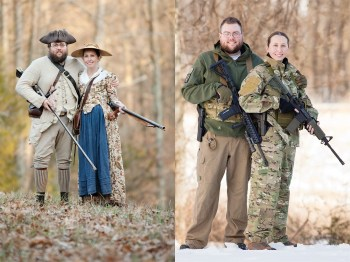 Split image showing a colonial era couple with rifles and modern day counterparts with AR-15s