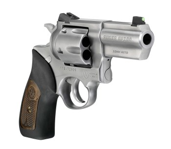 Ruger 10mm revolver with a fixed sight quartering