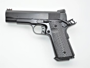 RIA 10mm 1911 Commander left profile with the safety engaged and hammer locked back