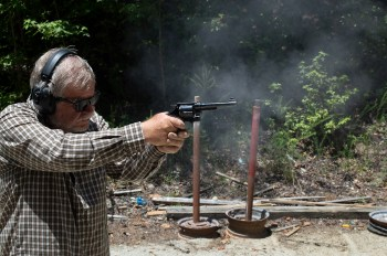 Bob Campbell shooting a 1917 .45 caliber Smith and Wesson N frame revolver