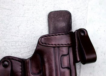 leather holster with body shield tang