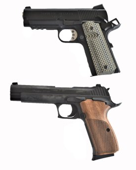 two 1911 single action handguns