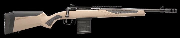 Savage 110 Scout rifle right profile on black background