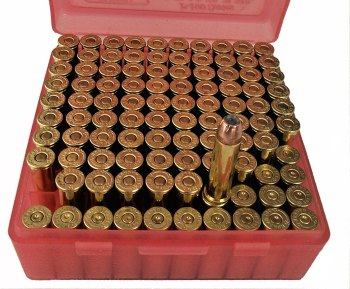 red box of .357 Magnum handloads