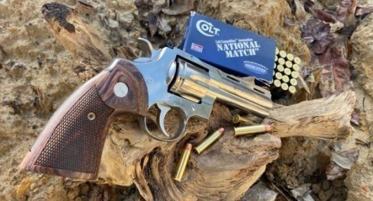 Colt Python revolver on deadwood log with Colt ammunition box