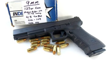 Glock 17L pistol with Hi Tek-coated bullets