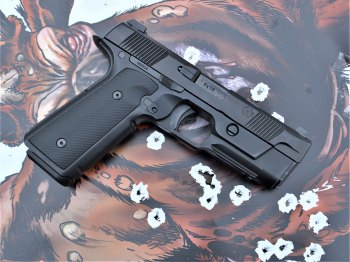 Pistol atop a nonstandard target without scoring rings