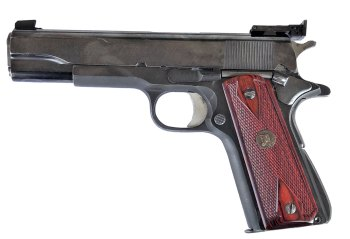 Colt 1911 Bullseye gun customized by Madore, left profile