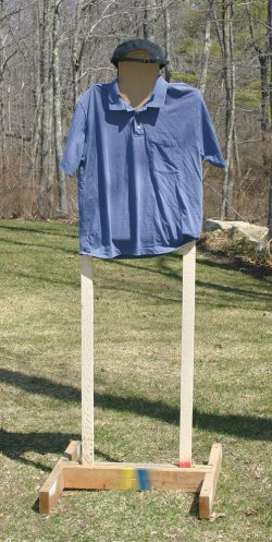 T-shirt placed over a cardboard IDPA target for street training