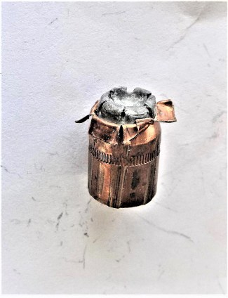 250-grain XTP .45 bullet after going through water at 750 fps