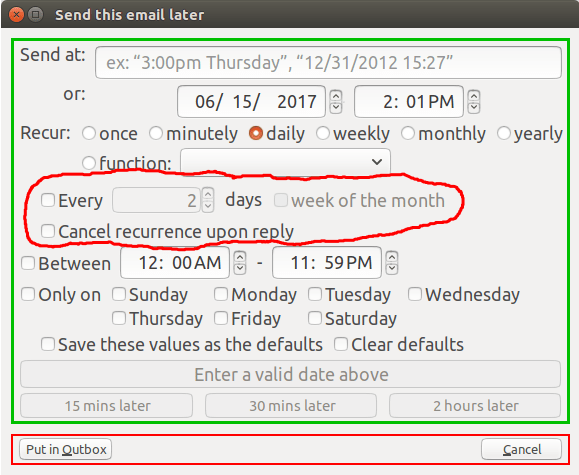 Send later thunderbird add on something better to do the new controls that appear in the dialog shown circled in red above are as follows m4hsunfo