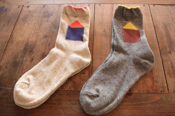 フレンチブルの靴下 家とお花ソックス