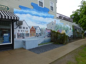 A bright mural in downtown St. Andrews, New Brunswick.  Photo (c) Nathaniel Hammond