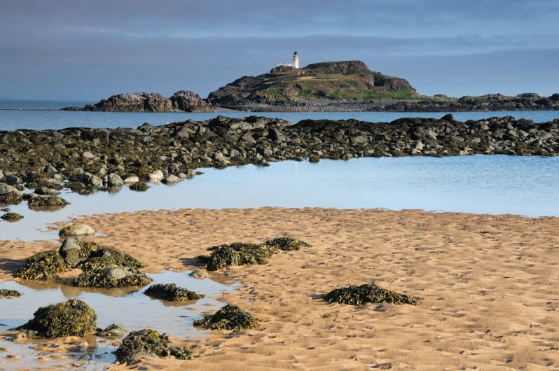 A sandy beach with seaweed and a line of dark rocks, with a small island in the distance, with a white lighthouse on it