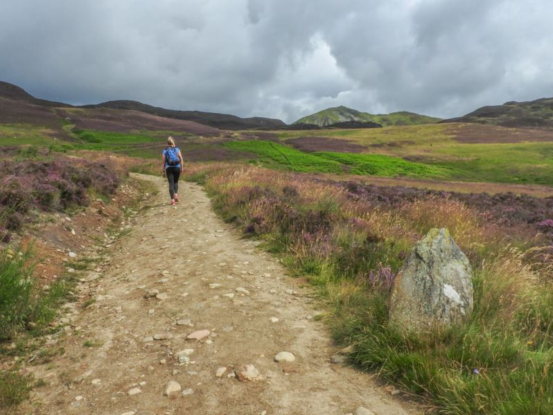 A young woman walking on a stone path with a rock and heather on the verge, with a mountain peak in the distance