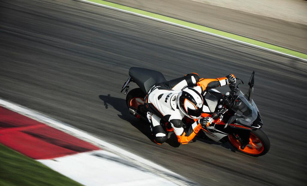 KTM RC 390 on the track. Photo by KTM.