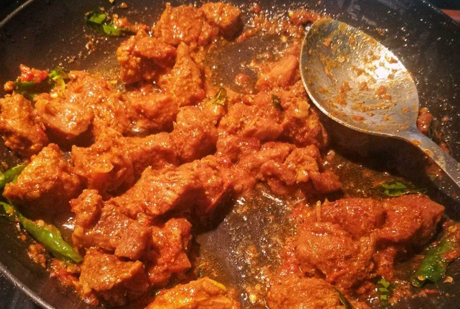 Easy Zesty Indian Dry Mutton Fry Recipe. Photo © Karl Rock.