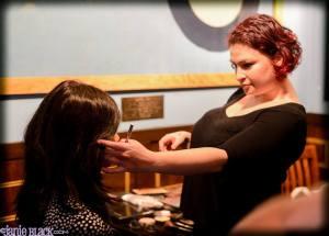 Make-up artist Jamie Bratslavsky fixing my make-up.