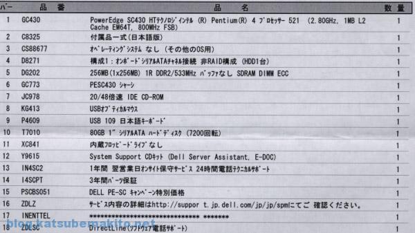 Dellサーバ購入明細