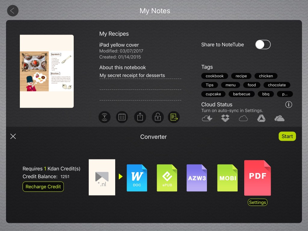 Convert notes into PDF and other popular formats