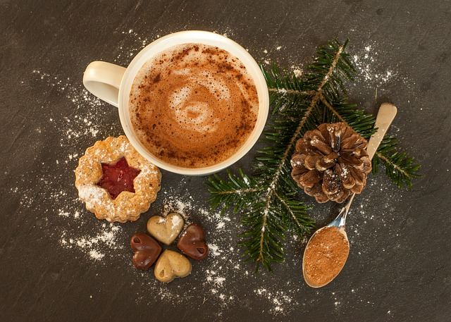 Warm hot chocolate and delicious cookies.