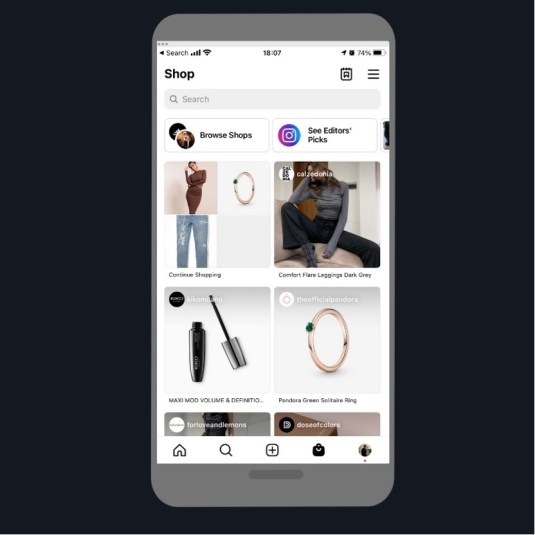 Interface of Instagram Shopping