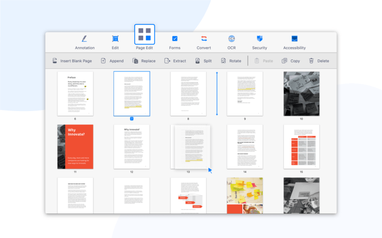 In page thumbnail view, you can drag another file from Mac Finder to the PDF Reader window.   Then you can easily append a file to the current PDF.
