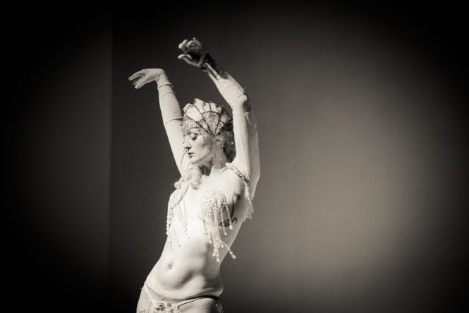 Ms. Tickle performing at the Atlas Obscura burlesque history lecture and cabaret performance