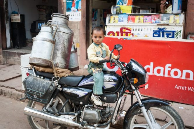 Child on a motorcycle in India