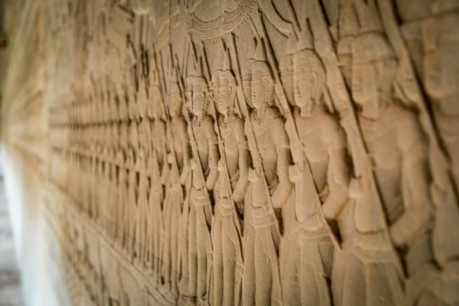 Wall carvings for an Angkor Wat temple guide