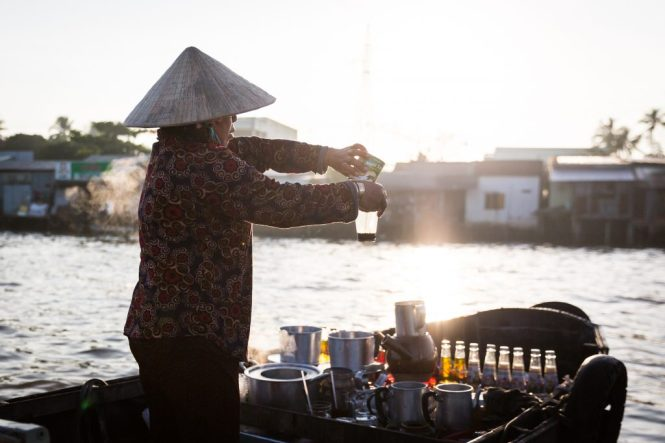 Preparing coffee at the Cai Rang Floating Markets