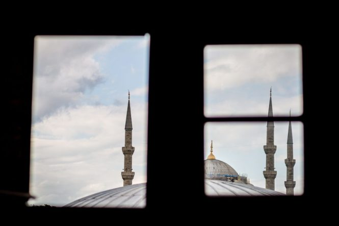 Blue Mosque minarets for an article on Istanbul street photos