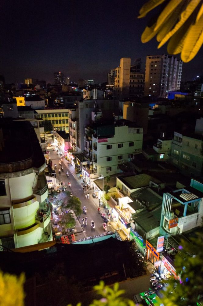 Night view from The View rooftop bar for article on Ho Chi Minh City street photos