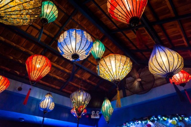 Colorful lanterns at The View rooftop bar for article on Ho Chi Minh City street photos