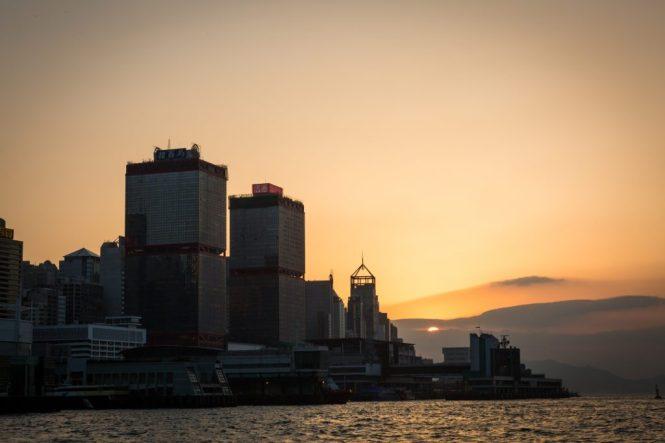 Sunset view of Hong Kong for a Hong Kong travel guide article