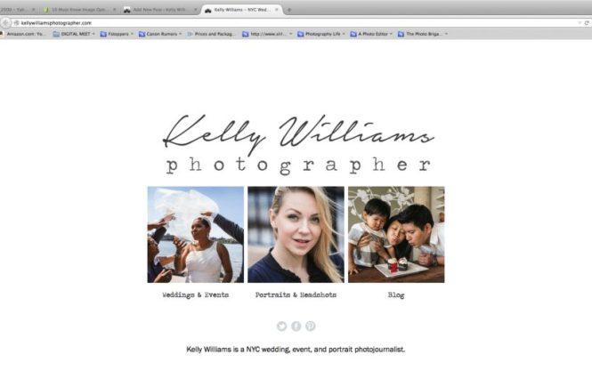 The new website splash page of NYC wedding photojournalist, Kelly Williams