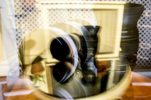 Double exposure of Canon telephoto lenses, photographed by Kelly Williams