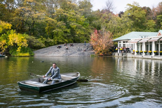 Groomsman in a Central Park rowboat