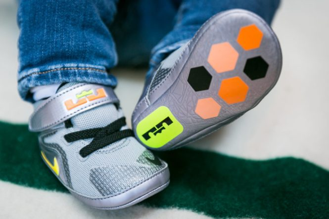 Baby shoes for an article on indoor baby portrait tips